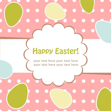 orthodox easter: Easter greeting decorative postcard with different easter eggs