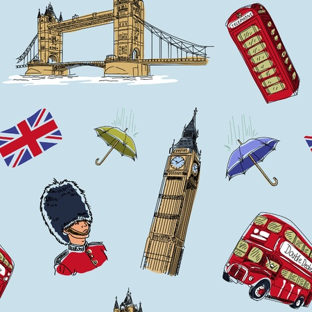 double decker bus: London seamless pattern Illustration