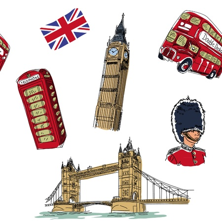 london bus: London seamless pattern Illustration