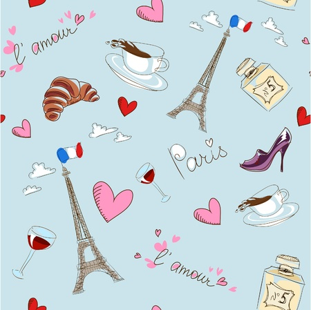 french perfume: Paris seamless pattern