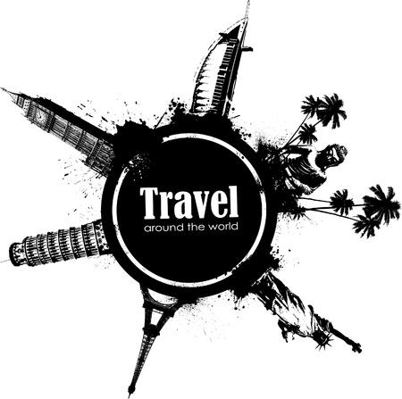 logo voyage: Élément de design de voyage avec des vues des différents pays et des éclaboussures