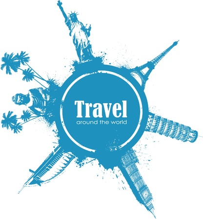 tourism logo: Travel design element with sights of different countries and splatter Illustration