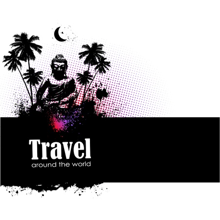 Travel design element with sights of different countries and splatter