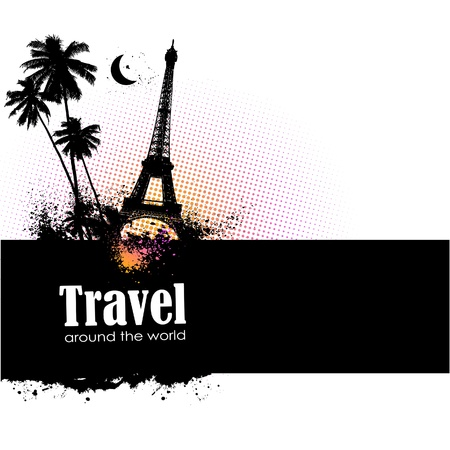 Travel design element with sights of different countries and splatter Vector
