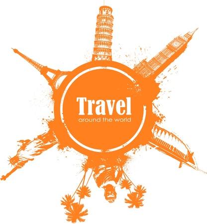 pisa: Reizen ontwerp element met bezienswaardigheden en splatter