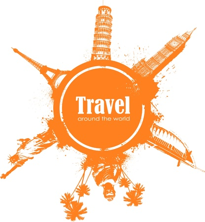 Travel design element with sightseeings and splatter Illustration