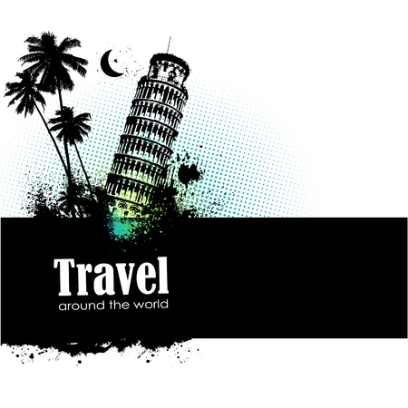 tourist spot: Travel design element with sights of different countries and splatter Illustration