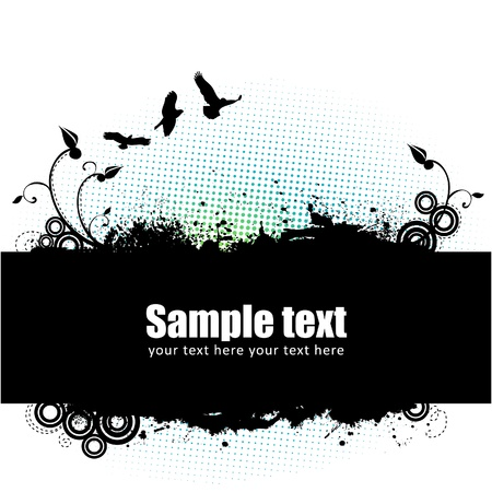 Grunge banner with an inky floral strip, design elements and halftone Vector