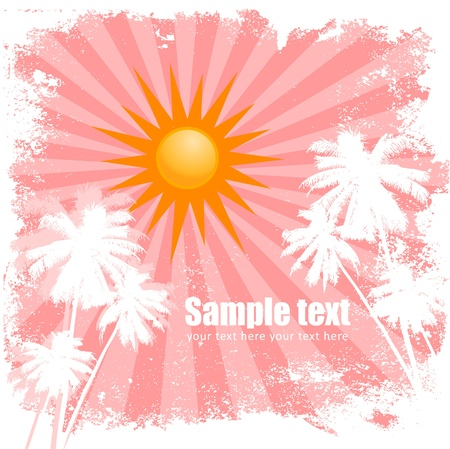 Sunny summer blue card with palm trees and radial background Vector