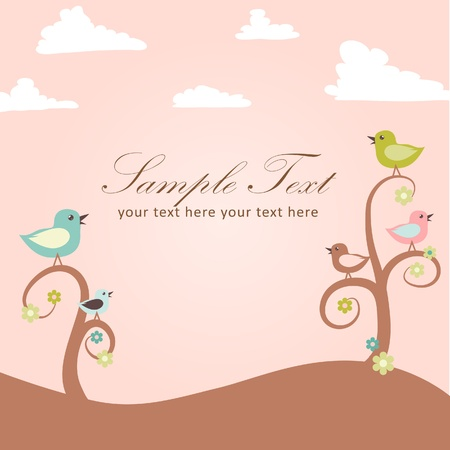 Birds and flowers card Vector