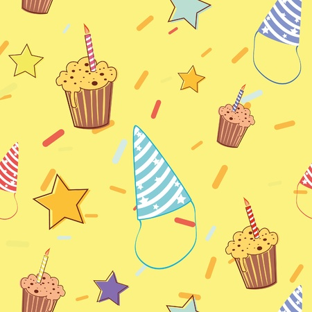 Birthday cheerful colorful seamless pattern Vector