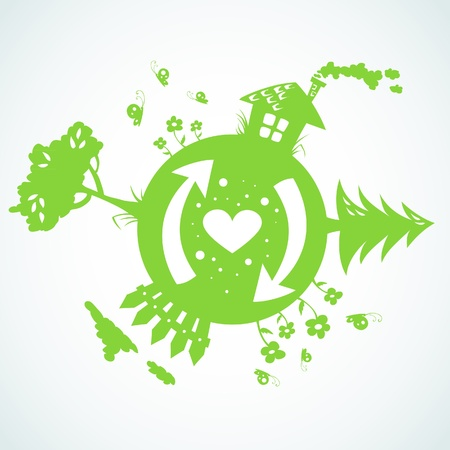 love tree: Earth day planet eco symbol Illustration