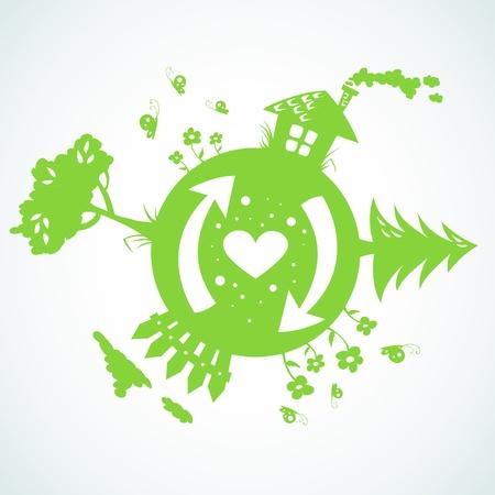 global village: Earth day planet eco symbol Illustration