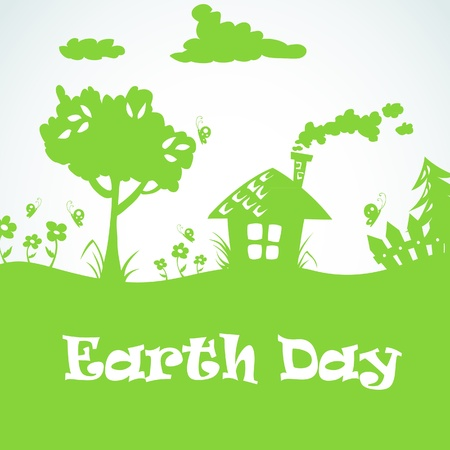 world village: Earth day planet eco symbol Illustration