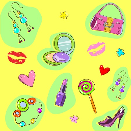 Cure girlish seamless background texture with fashion acessories and things Vector