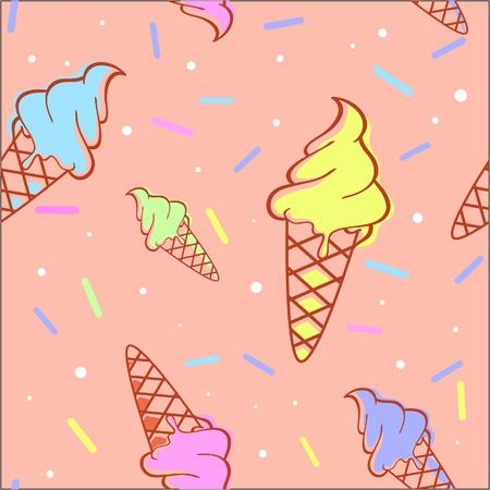 helado caricatura: De fusión de colores de helados sin patrón Vectores
