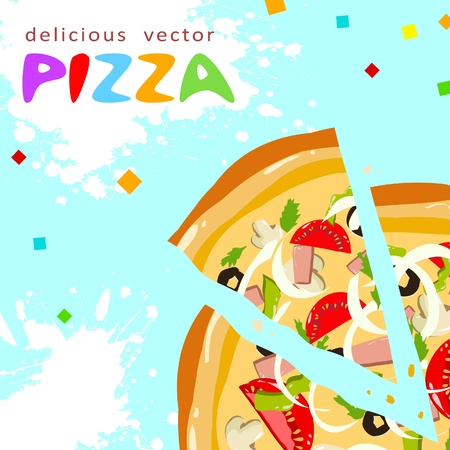 Colorful funny tasty pizza slices greeting card with splatter Vector