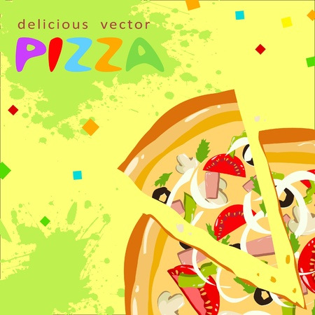 Colorful funny tasty pizza slices greeting card with splatter