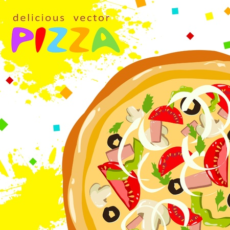 Colorful funny tasty pizza slices greeting card with splatter Stock Vector - 11658144