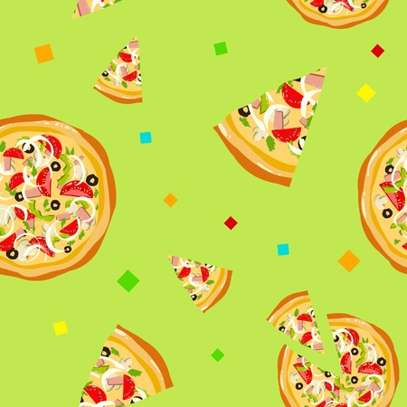 pizza background: Seamless colorful funny pizza texture