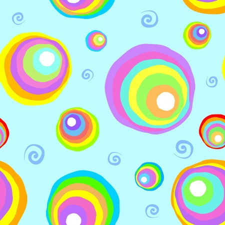 Colorful rainbow circles and twirls seamless texture Vector