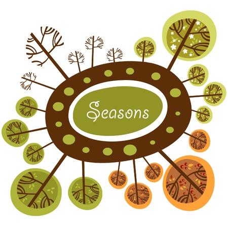 winter garden: Seasons of the year funny logo