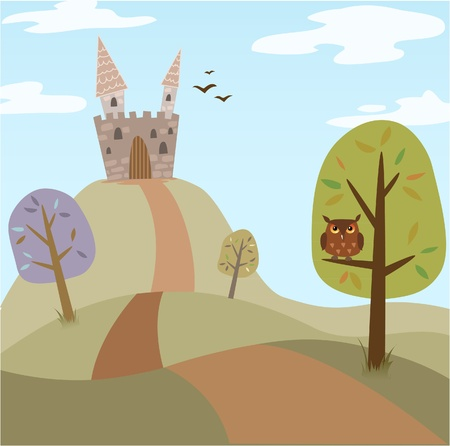fable: Landscape with medieval cartoon castle, trees, road and owl