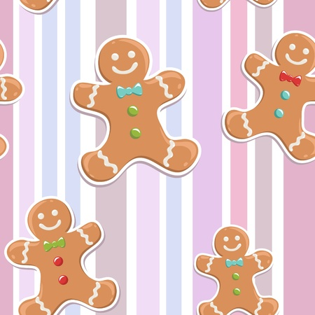 Cute gingerbread man seamless Christmas colorful pattern on a striped background Illustration