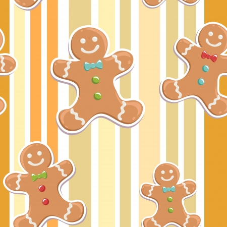 Cute gingerbread man seamless Christmas colorful pattern on a striped background Vector