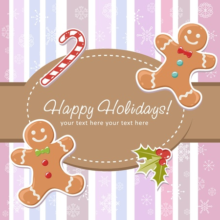 christmas cookie: Cute Christmas card with smiling gingerbread man, delicious candy cane and ilex berries on a striped background