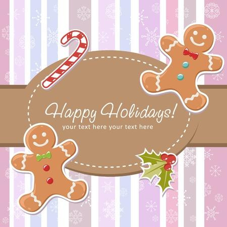 galletas de navidad: Linda tarjeta de Navidad con una sonrisa de hombre de jengibre, az�car de ca�a delicioso y bayas encinas en un fondo de rayas