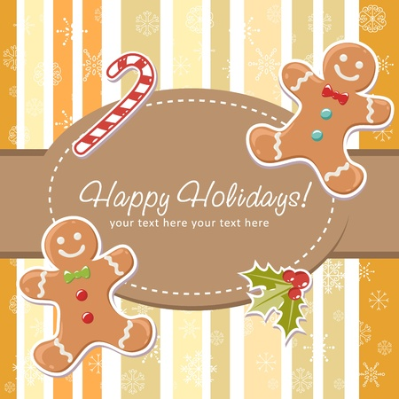 gingerbread man: Cute Christmas card with smiling gingerbread man, delicious candy cane and ilex berries on a striped background