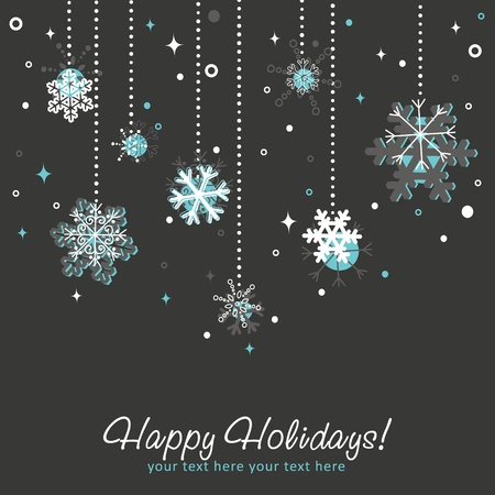 Ornate Christmas card with snowflakes, toys hanging on decorative lace Stock Vector - 11658200