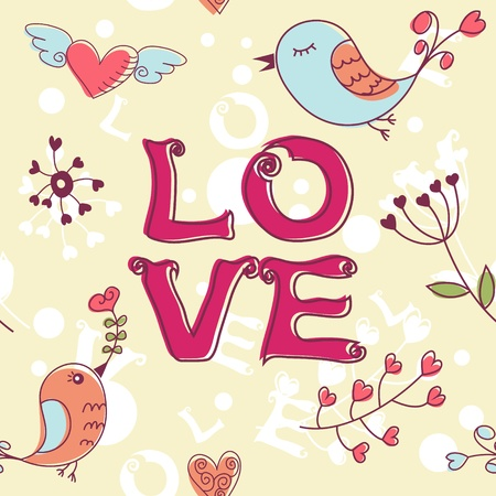 Love seamless texture with flowers and birds, endless floral pattern. Stock Vector - 11862204