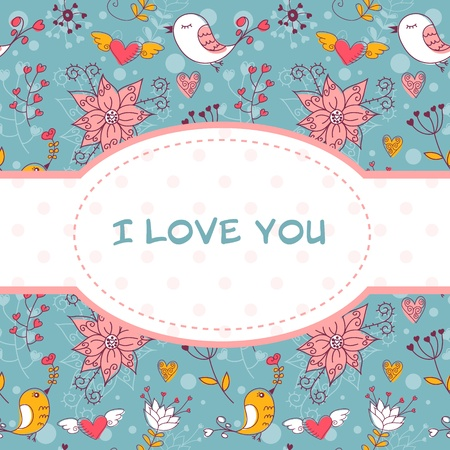 Lovely colorful invitation postcard with birds and flowers seamless background