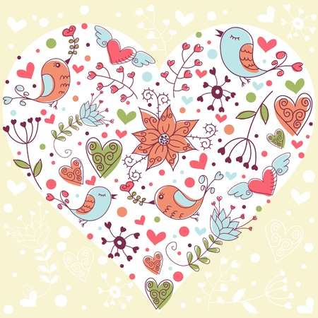 Lovely colorful invitation postcard with big heart, birds and flowers background Vector