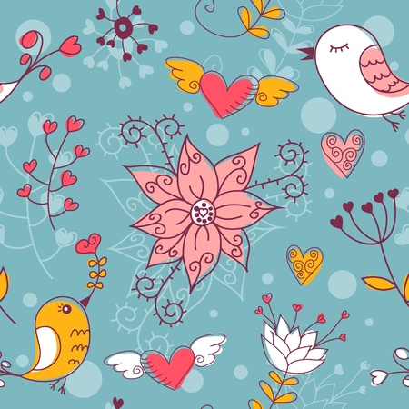 Love seamless texture with flowers and birds, endless floral pattern. Stock Vector - 11854725