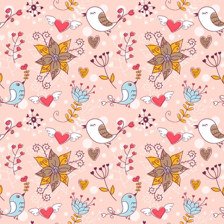 Love seamless texture with flowers and birds, endless floral pattern. Vector