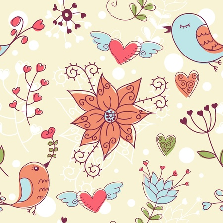 Love seamless texture with flowers and birds, endless floral pattern. Stock Vector - 11862232
