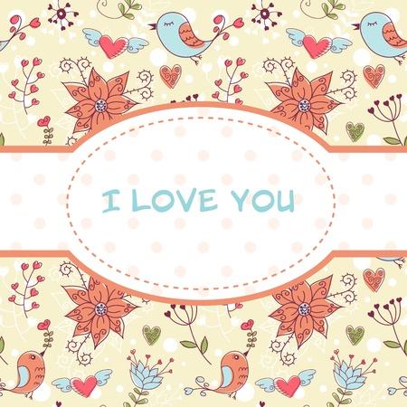 Hermosa postal de invitación muy colorida con pájaros y flores de fondo sin fisuras