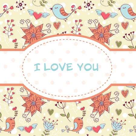 Lovely colorful invitation postcard with birds and flowers seamless background Vector