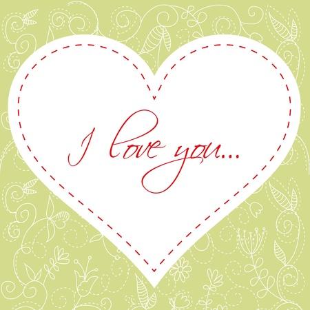 marriage invitation: Lovely Valentines Day heart floral invitation postcard Illustration