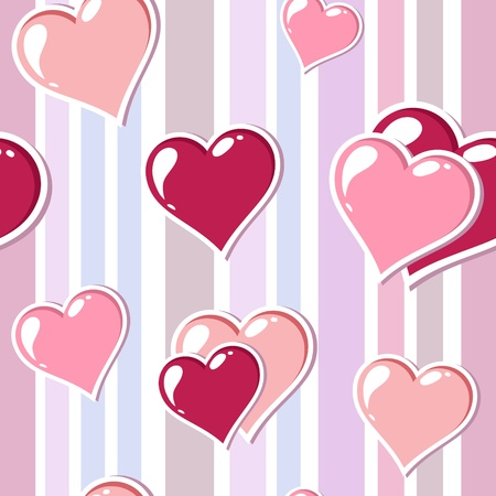 Valentine love stripped background with cute hearts Vector