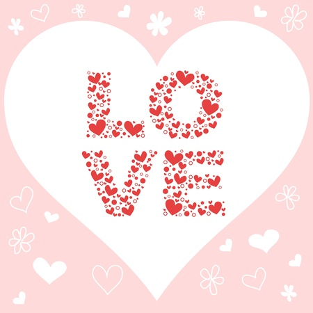 affair: Valentine day pink love invitation card with hearts, flowers and love letters Illustration