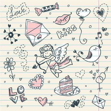 cake background: Doodle Valentine Illustration