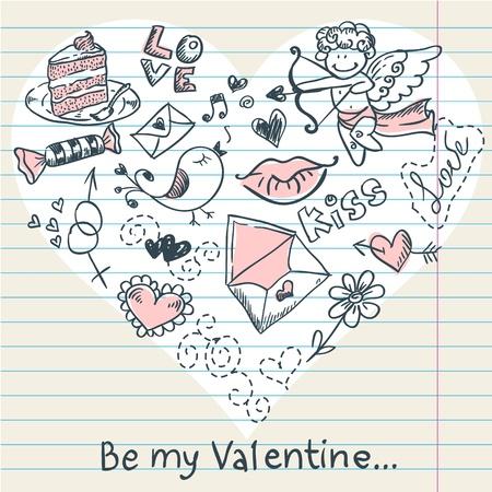 angel birthday: Doodle Valentine Illustration
