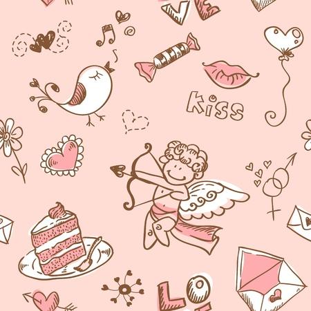 Doodle di San Valentino Archivio Fotografico - 11862206