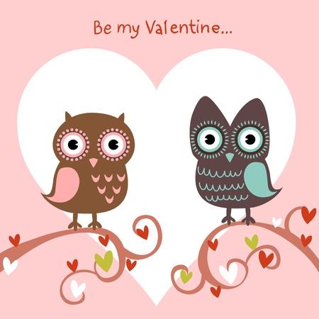 buhos: San Valentín el amor de tarjeta con un lindo búhos romántico y corazones