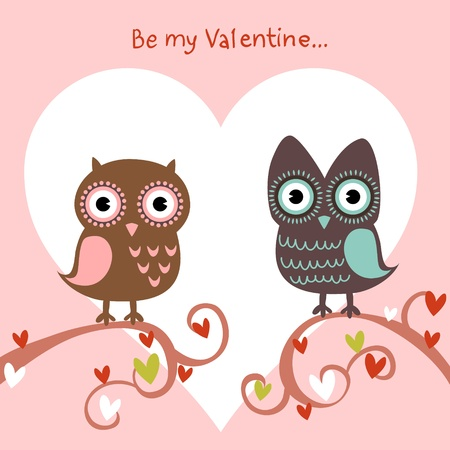 with sympathy: Valentine love card with cute romantic owls and hearts