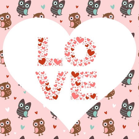 affair: Valentine love card with cute romantic owls and hearts